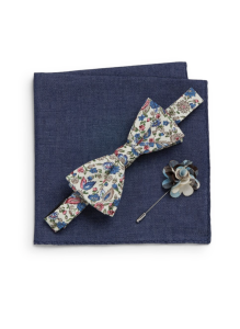Original Penguin Bering Floral-Print Bow Tie, Plaid Flower Pin