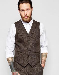ASOS Slim Vest In Brown Harris Tweed